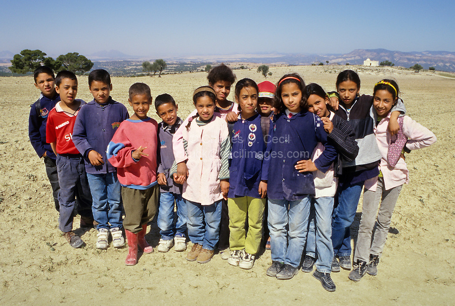Tunisia, Le Kef.  School Children outside Le Kef.