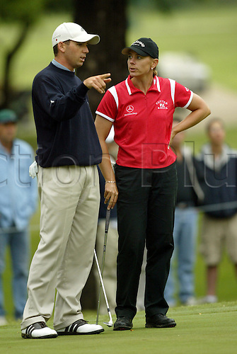20 May 2003:  Swedish golfer Annika Sorenstam and Sergio Garcia practice before The Bank of America Colonial Golf Tournament at the Colonial Country Club in Fort Worth, TX, USA, in which she competed against the men. Photo: Darren Carroll/Icon/Action Plus..030520.woman women womens women's