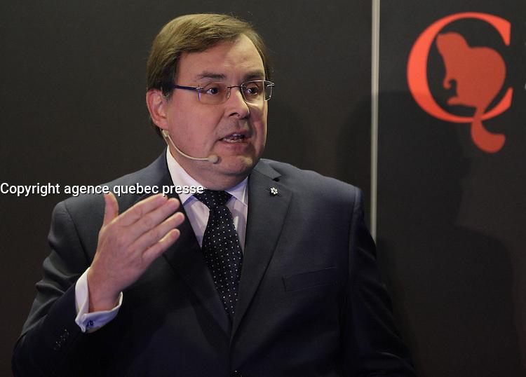 Guy Breton, Rector - Universit&eacute; de Montreal speak at the Canadian Club of Montreal tribune,Monday, October 17, 2016<br /> <br />  Photo : Agence Quebec Presse