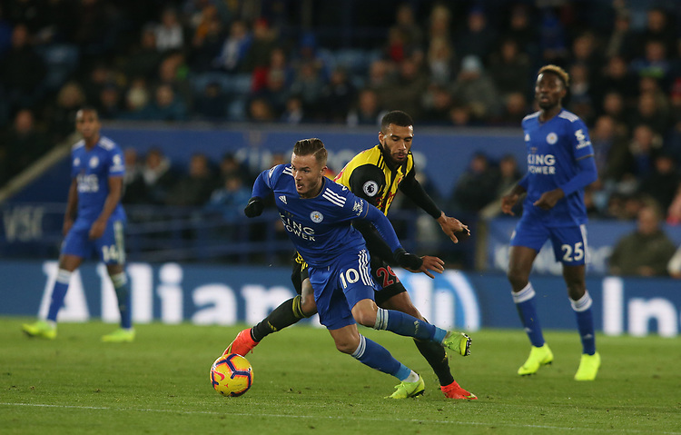 Leicester City's James Maddison and Watford's Etienne Capoue <br /> <br /> Photographer Stephen White/CameraSport<br /> <br /> The Premier League - Leicester City v Watford - Saturday 1st December 2018 - King Power Stadium - Leicester<br /> <br /> World Copyright © 2018 CameraSport. All rights reserved. 43 Linden Ave. Countesthorpe. Leicester. England. LE8 5PG - Tel: +44 (0) 116 277 4147 - admin@camerasport.com - www.camerasport.com