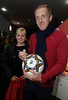 Pictured: Garry Monk signing autographs. Wednesday 15 November 2012<br /> Re: Swansea City FC players have played bowling at the Tenpin bowling alley at Parc Tawe, Swansea, south Wales.
