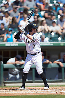 Jake Elmore (3) of the Charlotte Knights at bat against the Gwinnett Stripers at BB&T BallPark on May 2, 2018 in Charlotte, North Carolina.  The Knights defeated the Stripers 6-5.  (Brian Westerholt/Four Seam Images)