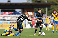 San Jose, CA - Sunday October 21, 2018: Eric Calvillo, Tommy Thompson during a Major League Soccer (MLS) match between the San Jose Earthquakes and the Colorado Rapids at Avaya Stadium.