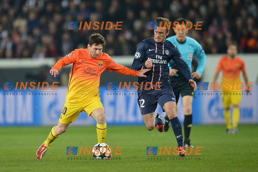 Leo Messi (bar) - David Beckham (psg) .Parigi 2/4/2013 .Calcio Champions League Quarti di Finale Andata.Paris Saint Germain Barcellona.Foto Panoramic / Insidefoto