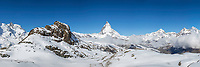 Swiss Alps Panorama at Zermatt and the Matterhorn. I only had one night at Zermatt and I got lucky the second day with a clear shot of the Matterhorn. <br /> <br /> This is also available in a 4X1 ration that includes more mountains on the left and right.