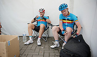 Stijn Devolder (BEL) &amp; Nick Nuyens (BEL) together in a national (selection) team<br /> <br /> Halle - Ingooigem 2013<br /> 197km