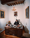 Patmos, Chora, Dodecanese Island, portrait of elder Antipas, the Abbot of St. John's Monastery in his office