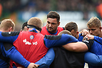 Elliott Stooke of Bath Rugby looks on in a pre-match huddle. Gallagher Premiership match, between Leicester Tigers and Bath Rugby on May 18, 2019 at Welford Road in Leicester, England. Photo by: Patrick Khachfe / Onside Images