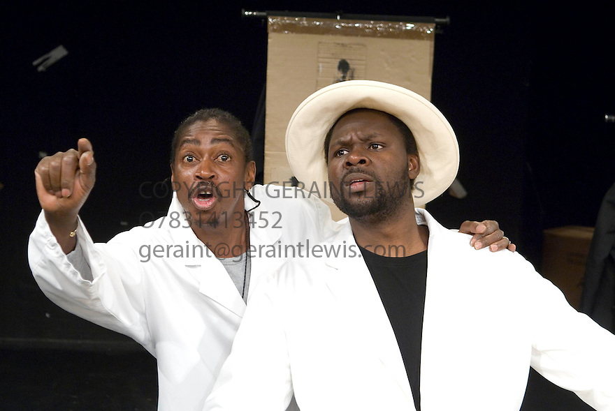 Sizwe Banzi is Dead by Athol Fugard ,directed by Peter Brook. With Habib Dembele as Styles, Pitcho Womba Konga as Robert Zwenlizima previously known as Sizwe Banzi[bigger man]. Opens at the Barbican Theatre on 9/5/07    CREDIT Geraint Lewis