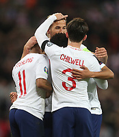 England celebrate their first goal scored by Raheem Sterling<br /> <br /> Photographer Rob Newell/CameraSport<br /> <br /> UEFA Euro 2020 Qualifying round - Group A - England v Czech Republic - Friday 22nd March 2019 - Wembley Stadium - London<br /> <br /> World Copyright © 2019 CameraSport. All rights reserved. 43 Linden Ave. Countesthorpe. Leicester. England. LE8 5PG - Tel: +44 (0) 116 277 4147 - admin@camerasport.com - www.camerasport.com