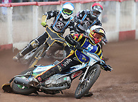 Heat 14: Matt Bates (white), Nick Laurence (blue) and Alfie Bowtell (red)<br /> <br /> Photographer Rob Newell/CameraSport<br /> <br /> National League Speedway - Lakeside Hammers v Eastbourne Eagles - Lee Richardson Memorial Trophy, First Leg - Friday 14th April 2017 - The Arena Essex Raceway - Thurrock, Essex<br /> &copy; CameraSport - 43 Linden Ave. Countesthorpe. Leicester. England. LE8 5PG - Tel: +44 (0) 116 277 4147 - admin@camerasport.com - www.camerasport.com