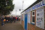 Wealdstone 0 Newport County 0, 17/03/2012. St Georges Stadium, FA Trophy Semi Final. Supporters gathering outside St Georges Stadium, home ground of Wealdstone FC, before the club played host to Newport County in the semi-final second leg of the F.A. Trophy. The game ended in a goalless draw, watched by a capacity crowd of 2,092 which meant the visitors from Wales progressed by three goals to one to the competition's final at Wembley, where they would meet York City. The F.A. Trophy was the premier cup competition for non-League clubs in England and Wales affiliated to the Football Association. Photo by Colin McPherson.