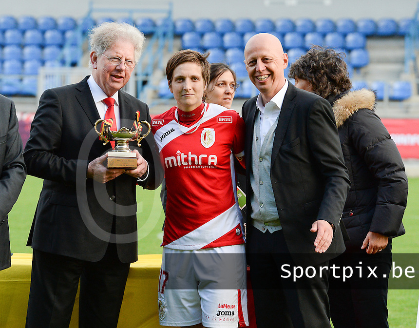 20140510 - BEVEREN , BELGIUM : Marc Lesenfants (l) , Maud Coutereels (m) and Steven Martens (r) pictured during the final of Belgian cup, a soccer women game between Club Brugge Vrouwen and Standard Femina de Liege , in stadion Freethiel Beveren , Saturday 10 th May 2014 . PHOTO DAVID CATRY