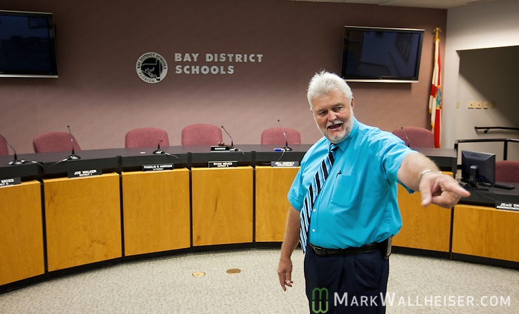 Mike Jones, a retired school board member and police detective,  was working at the Bay County School Board as a security officer when he shot  Clay Duke after Dook took the school board members hostage and shot up the meeting in Panama City, Florida December 17, 2010.  Jones saved the lives of several school board members and employees when he shot Duke stopping his rampage.  Jones was photographed on August 18, 2011.