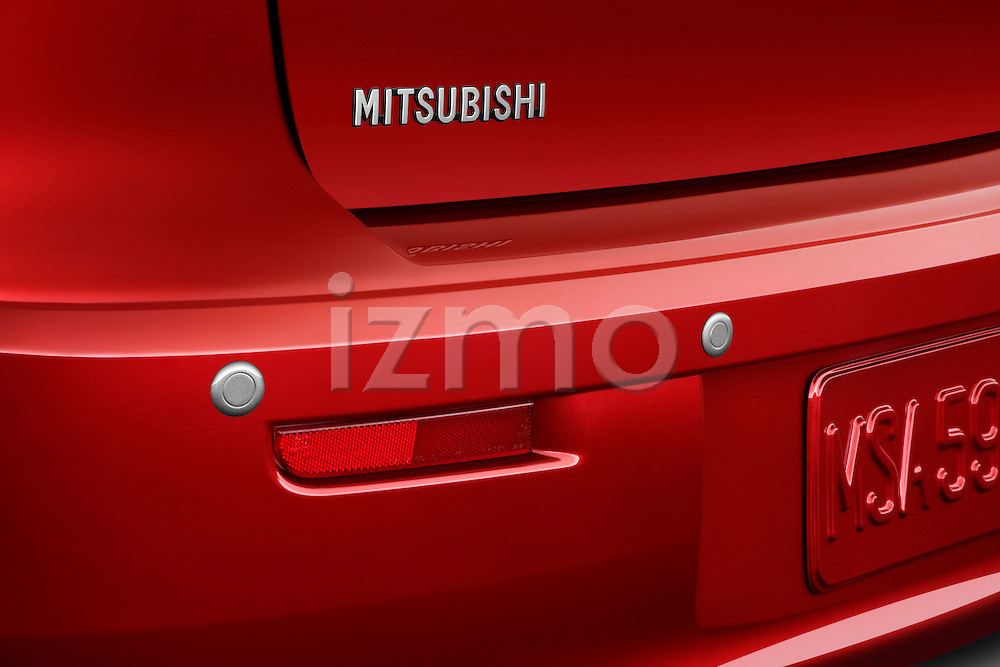 Rear bumper parking sensors on a 2012 Mitsubishi Lancer GT Touring.