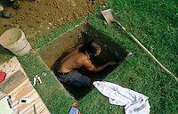 Forrest Hills Cemetery-  A routine archaeological dig has uncovered some prehistoric artifacts at the Lower Moreland cemetery.   Jeffrey Rosenstein,25, digs in a hole at the cemetery, while looking for artifacts at the site.