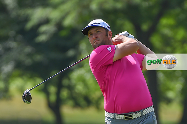 Jon Rahm (ESP) watches his tee shot on 3 during 2nd round of the World Golf Championships - Bridgestone Invitational, at the Firestone Country Club, Akron, Ohio. 8/3/2018.<br /> Picture: Golffile   Ken Murray<br /> <br /> <br /> All photo usage must carry mandatory copyright credit (© Golffile   Ken Murray)