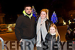 Jake Lavery, Laura Cumming, Emma Cummings, Ballyduff at the fireworks on Denny Street on Saturday night