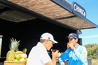 Matteo Manassero (ITA) and Jason Scrivener (AUS) at the beach cocktail bar 'Chico' ahead of the Rocco Forte Sicilian Open played at Verdura Resort, Agrigento, Sicily, Italy 08/05/2018.<br /> Picture: Golffile | Phil Inglis<br /> <br /> <br /> All photo usage must carry mandatory copyright credit (&copy; Golffile | Phil Inglis)