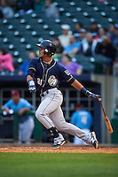 San Antonio Missions outfielder Alberth Martinez (21) at bat during a game against the NW Arkansas Naturals on May 30, 2015 at Arvest Ballpark in Springdale, Arkansas.  San Antonio defeated NW Arkansas 5-2.  (Mike Janes/Four Seam Images)