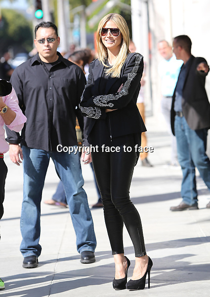 "Heidi Klum hits the sidewalk in sky high pumps and with tight leather pants and cool rhinestone encrusted blazer jacket while filming new scenes for her German TV Show ""Germany's Next Topmodel"" on Rodeo Drive in Beverly Hills today. Los Angeles, California on February 12, 2013..Credit: Vida/face to face"