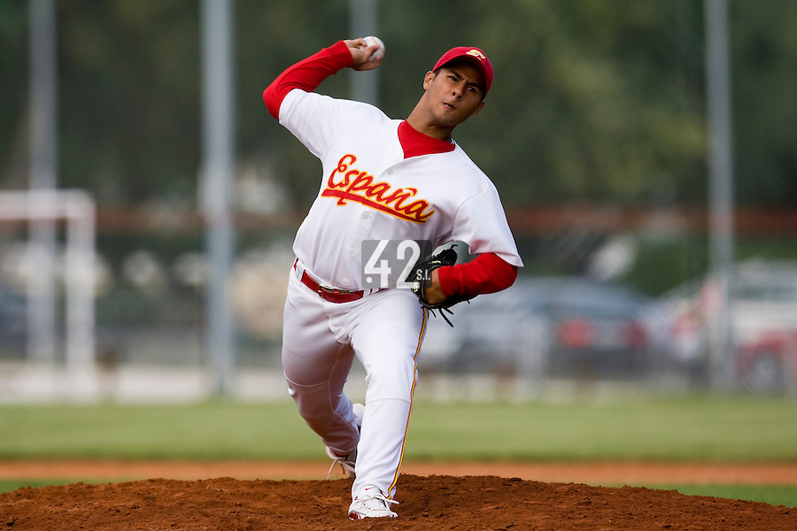 BASEBALL - EUROPEAN UNDER -21 CHAMPIONSHIP - PAMPELUNE (ESP) - 03 TO 07/09/2008 - PHOTO : CHRISTOPHE ELISE .CZECH REPUBLIC VS SPAIN (WINNER 6-2) - AUDIE NUNEZ (SPAIN)