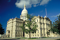 Michigan State Capitol Building after renovation. Lansing Michigan USA downtown.