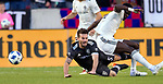 Colorado Rapids forward Dominique Badji (14) falls atop Real Salt Lake midfielder Kyle Beckerman (5) in the first half Saturday, April 21, 2018, during the Major League Soccer game at Rio Tiinto Stadium in Sandy, Utah. RSL beat the Colorado Rapids 3-0. (© 2018 Douglas C. Pizac)