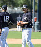 (L-R) Hiroki Kuroda, Masahiro Tanaka (Yankees),<br /> FEBRUARY 16, 2014 - MLB :<br /> New York Yankees spring training camp in Tampa, Florida, United States. (Photo by AFLO)