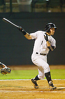 Drew Lee #1 of the Bristol White Sox follows through on his swing against the Bluefield Orioles at Boyce Cox Field August 27, 2010, in Bristol, Tennessee.  Photo by Brian Westerholt / Four Seam Images