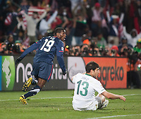 The USA's Maruice Edu reacts to having a foul called to disalow what would have been the third American goal as Slovenia defender Bojan Jokic looks on in the second half of the 2010 World Cup match between USA and Slovenia at Ellis Park Stadium in Johannesburg, South Africa on Friday, June 18, 2010.  The USA tied Slovenia 2-2.