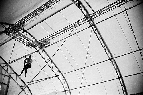 Behind the scene at the Trapeze School New York (TSNY) in Washington DC.