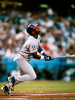 Sammy Sosa of the Chicago Cubs during a game at Dodger Stadium in Los Angeles, California during the 1997 season.(Larry Goren/Four Seam Images)