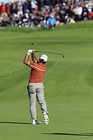 Francesco Molinari (Team Europe) plays his 2nd shot on the 10th hole during Saturday's Foursomes Matches at the 2018 Ryder Cup 2018, Le Golf National, Ile-de-France, France. 29/09/2018.<br /> Picture Eoin Clarke / Golffile.ie<br /> <br /> All photo usage must carry mandatory copyright credit (© Golffile | Eoin Clarke)