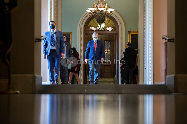 United States Senate Majority Leader Mitch McConnell (Republican of Kentucky) walks to his office from the Senate Floor at the United States Capitol in Washington D.C., U.S., on Monday, June 29, 2020.  Credit: Stefani Reynolds / CNP /MediaPunch