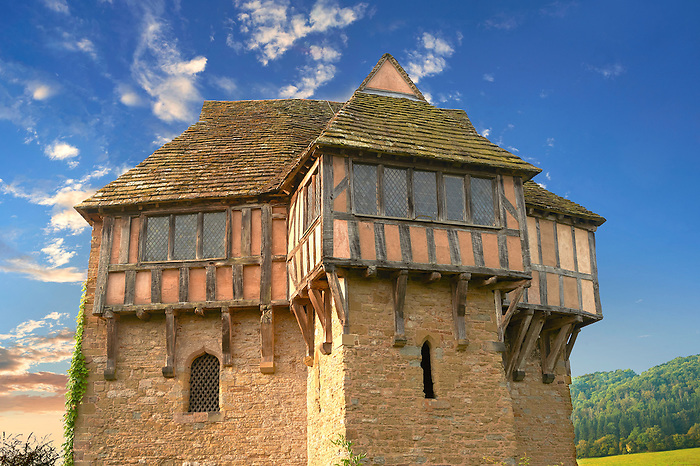 The half timbered north tower built in the 1280s, the  finest fortified medieval manor house in England, Stokesay Castle, Shropshire, England