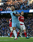 Sergio Aguero of Manchester City celebrates scoring the first goal during the Premier League match at the Etihad Stadium, Manchester. Picture date: November 5th, 2016. Pic Simon Bellis/Sportimage