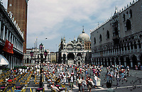 Venice: Piazza San Marco--the Piazzetta, looking to the Basilica.  Photo '83.