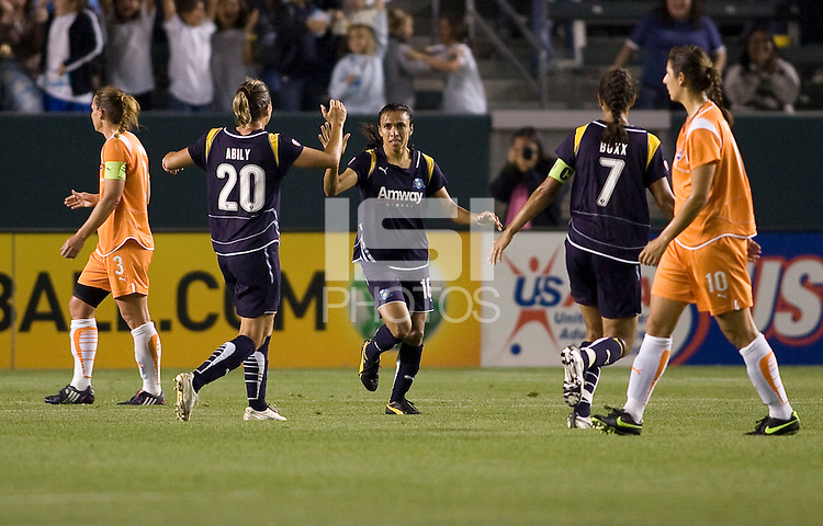 LA Sol' s Camille Abilly congratulates Marta after scoring the lone goal. The LA Sol defeated Sky Blue FC 1-0 at Home Depot Center stadium in Carson, California on Friday May 15, 2009.   .