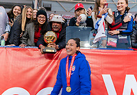 CARSON, CA - FEBRUARY 9: Christen Press #20 of the United States poses with her father, Cody Press during a game between Canada and USWNT at Dignity Health Sports Park on February 9, 2020 in Carson, California.