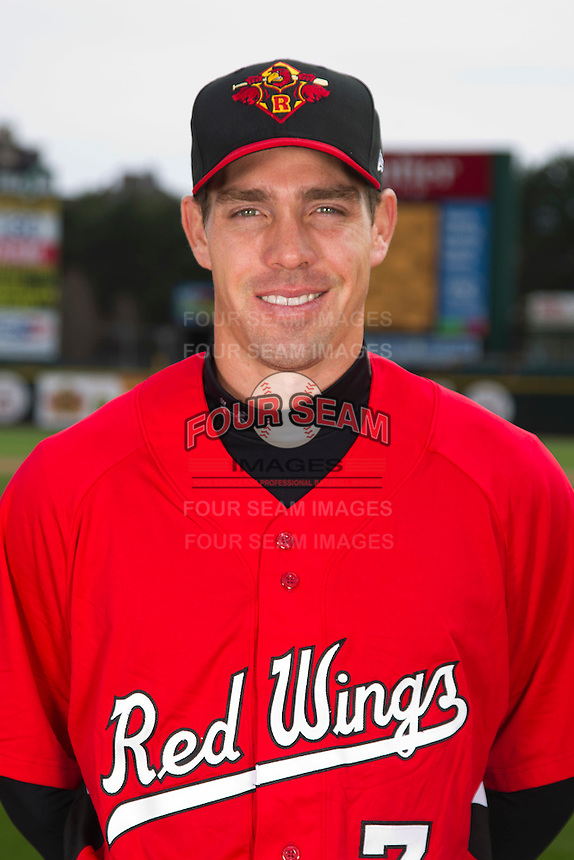 Rochester Red Wings outfielder Matt Carson #7 poses for a photo during media day at Frontier Field on April 3, 2012 in Rochester, New York.  (Mike Janes/Four Seam Images)
