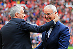 Manchester United manager Jose Mourinho greets Leicester City manager Claudio Ranieri  during the Premier League match at Old Trafford Stadium, Manchester. Picture date: September 24th, 2016. Pic Sportimage