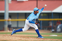 Burlington Royals starting pitcher Angel Zerpa (30) delivers a pitch to the plate against the Danville Braves at Burlington Athletic Stadium on August 9, 2019 in Burlington, North Carolina. The Royals defeated the Braves 6-0. (Brian Westerholt/Four Seam Images)