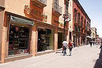 Pedestrian shopping promenade on Avenida Zaragoza in the city of San Luis de Potosi, Mexico