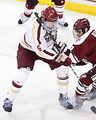 Patrick Wey (BC - 6), Steven Guzzo (UMass - 9) - The Boston College Eagles defeated the visiting University of Massachusetts-Amherst Minutemen 2-1 in the opening game of their 2012 Hockey East quarterfinal matchup on Friday, March 9, 2012, at Kelley Rink at Conte Forum in Chestnut Hill, Massachusetts.