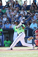 Tra Holmes (32) of the Hillsboro Hops bats against the Spokane Indians at Ron Tonkin Field on July 23, 2017 in Hillsboro, Oregon. Spokane defeated Hillsboro, 5-3. (Larry Goren/Four Seam Images)
