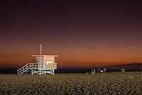 A lifeguard tower on the Santa Monica Beach near the Santa Monica Pier.