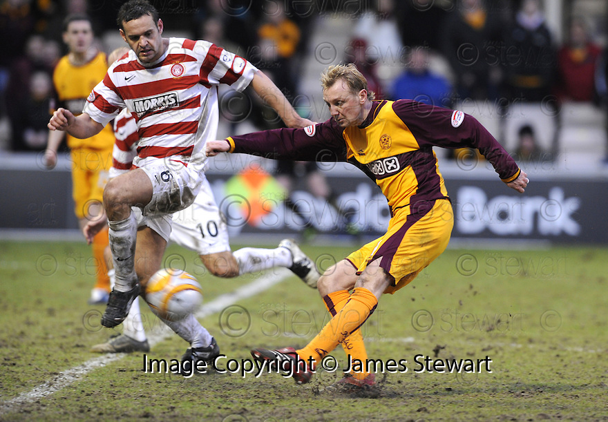 14/02/2009  Copyright Pic: James Stewart.File Name : sct_jspa14_motherwell_v_hamilton.STEPHEN HUGHES TAKES A SHOT AT GOAL.James Stewart Photo Agency 19 Carronlea Drive, Falkirk. FK2 8DN      Vat Reg No. 607 6932 25.Studio      : +44 (0)1324 611191 .Mobile      : +44 (0)7721 416997.E-mail  :  jim@jspa.co.uk.If you require further information then contact Jim Stewart on any of the numbers above.........