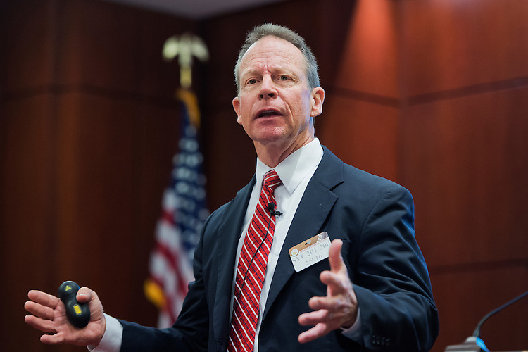 UNITED STATES - FEBRUARY 09: Steve Cook, president of the National Association of Assistant United States Attorneys, speaks during a congressional briefing in the Capitol Visitor Center, February 09, 2016. (Photo By Tom Williams/CQ Roll Call)