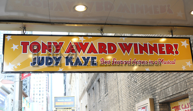 Theatre Marquee: celebrating the 200th Performance of 'Nice Work if You Can Get It' on Broadway at the Imperial Theatre on October 17, 2012 in New York City.